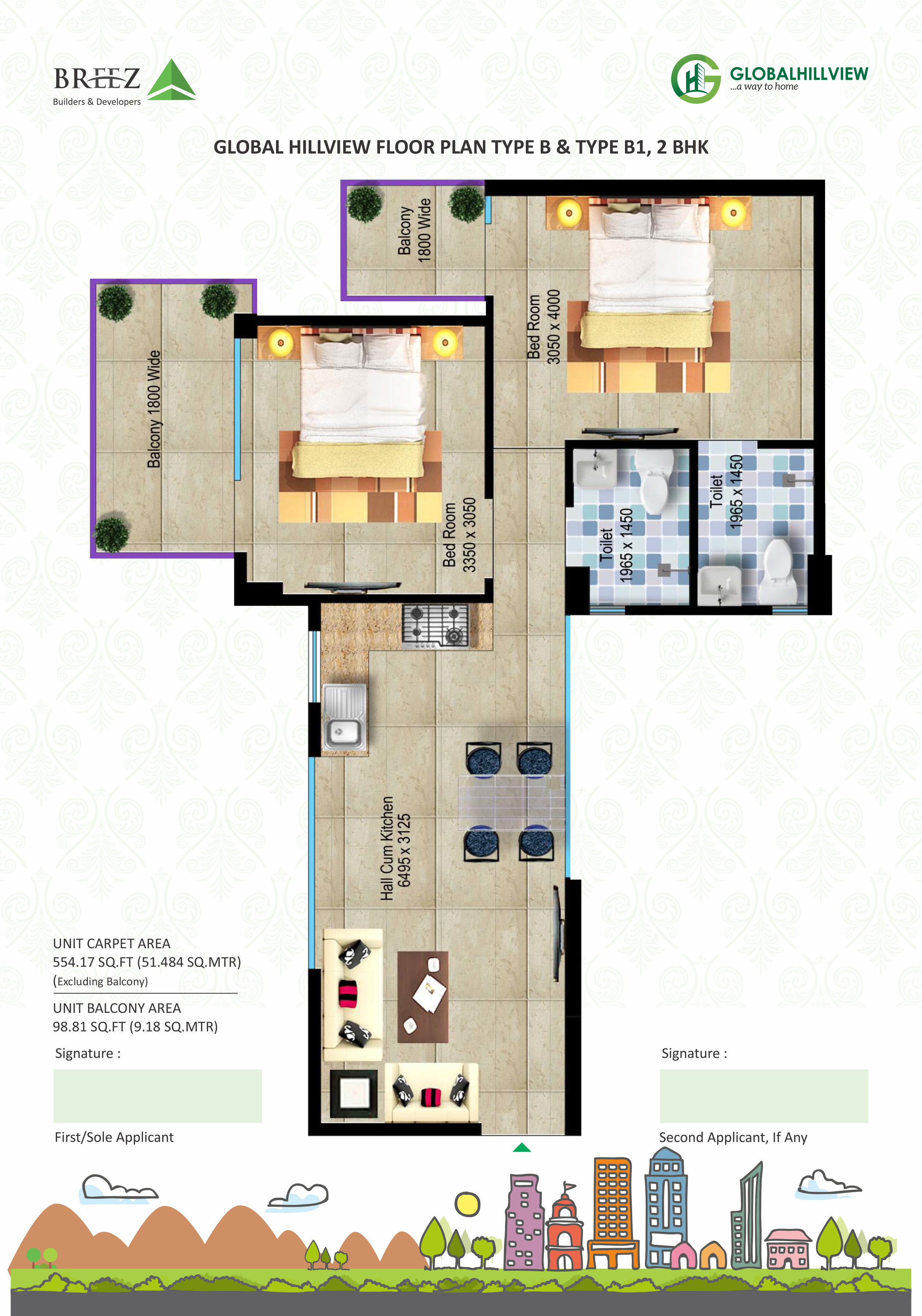 Breeze Global Hill View 2bhk Floor Plan